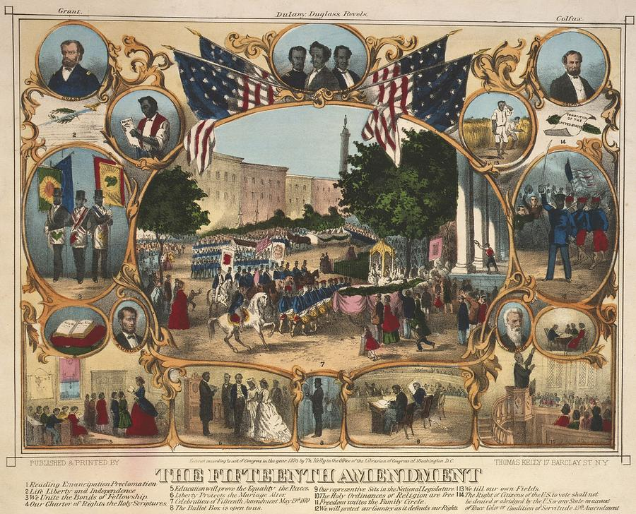 1970 Poster illustrating the rights of the 15th Amendment