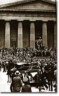 Nervous Crowd in front of the NY Stock Exchange 10/29/29